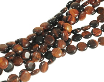 "Red Tiger Eye 10mm Flat Coin Gemstone Beads - Full 16"" Strand - About 39 Beads"