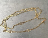 RESERVED NESS Vintage solid 14 kt gold station necklace