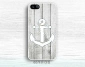 iPhone 6S Case, Wood iPhone 5 Case, White Anchor, iPhone 6 Plus Wood Case, iPhone SE Case, iPhone 5S Wood Case Anchor Design, iPhone 5C Case