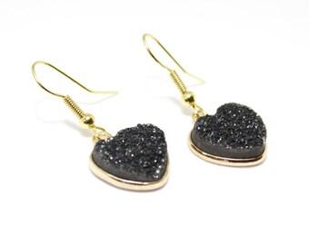 Black Heart Earrings, Black Druzy Earrings, Black Druzy Heart, Birthday Gift, Black Jewellery, Druzy Earrings Black, Gift for Women