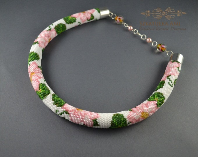 Pink Flower necklace Seed bead crochet rope Jewelry necklace Seed bead necklace Gift for her Beading necklace Handmade jewelry Pink roses
