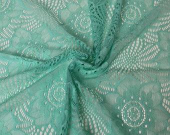 Seafoam Francine Floral Illusion  Pattern Stretch Lace Fabric - 643-SEAFOAM