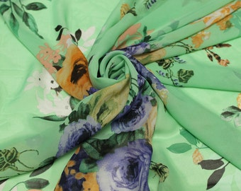Green Multi Color Floral Pattern Chiffon Fabric Style 8076