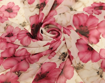 White and Pink Floral Print Pattern Chiffon By the Yard Style 8075