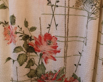 Vintage Flowered Drapes - Curtains - Flower Pattern 60s, Pinch Pleats, Pink Flowers, Green, Tan