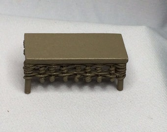 """Dollhouse Miniature 1/2"""" Scale Tan Wicker Coffee Table by Peggy Taylor"""