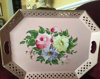 French Country Shabby Chic Romantic Cottage Tole Roses Tray