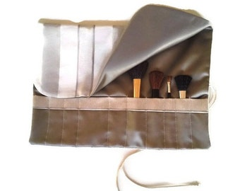 Makeup Brush Roll Oyster Grey & Ivory Cosmetic Bag Roll up