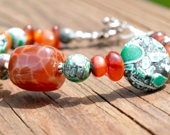 Fire Agate and Turquoise Beaded Earrings and Bracelet Set