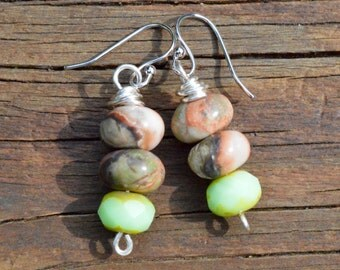 Peacock Jasper and Green Czech Glass Beaded Earrings