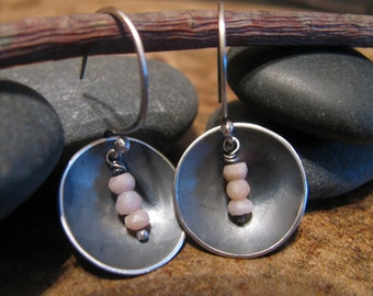 Pink Opals and Sterling Silver Handmade/Hand Forged Dangle Earrings Pink Opal Jewelry Toniraecreations