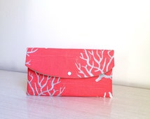 Beach wedding/gift for her/envelope clutch/bridesmaid gift/bridal party gift/Coral clutch/wedding party gifts/coral Aqua clutch