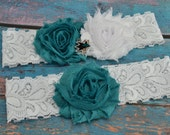 San Jose Sharks Wedding Garter Set, San Jose Garters Bridal Garter Set, White Lace Wedding Garter