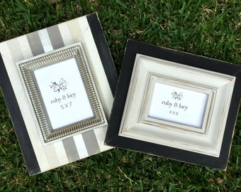 5x7 & 4x6 custom distressed wood frame set neutral stripes and solid | gallery wall art | gift for dad | wedding gift | anniversary gift