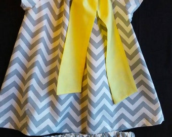 Infant /toddler girls  gray chevron and yellow dress photo outfit