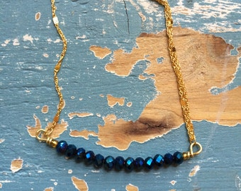 Wire Wrapped Cyrstal Bead Bar Necklace