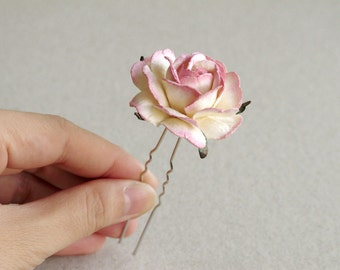 Pink Rose Hair Pin - Made of mulberry paper flower and silver colour U pin