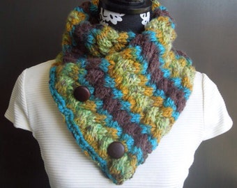 Chunky Cable Knit Cowl Scarf / Teal, Green, Mustard, Brown with Buttons