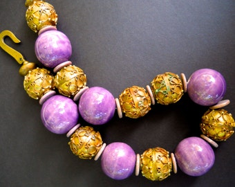 Purple Etruscan Revival Necklace, Ceramic Brass, Massive, Runway, Vintage