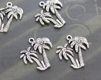 10 tibetan silver Palm tree charms 21 x 21mm