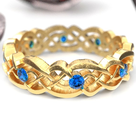 Gold Celtic Wedding Ring With Sapphires, Infinity Band, Eternity Diamond Ring in 10K 14K 18K Palladium or Platinum, Custom Size 1044