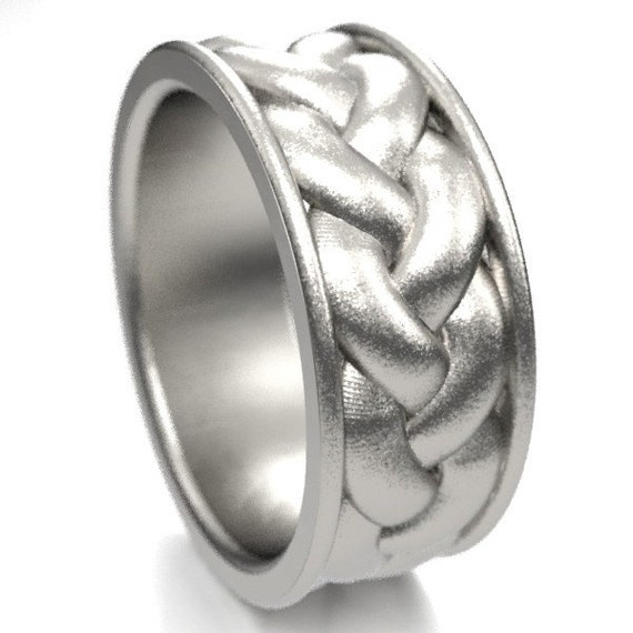 Celtic Braid with Border Sterling Silver Ring, Made in Your Size CR-1060