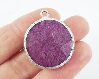 26mm Patrician Purple Faceted Jade Pendant - Matte Antique Silver Plated Bezel - 1pc