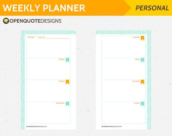 Printable Personal Filofax Personal Weekly Planner, Printable Filofax Inserts, Personal Inserts, Planner Pages