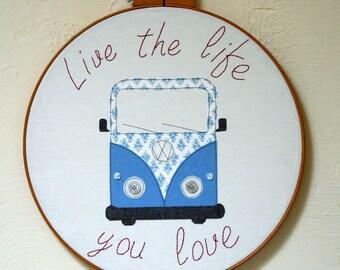 Large Campervan Embroidery Hoop Wall Hanging