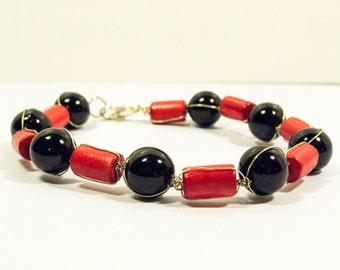 Red and Black Wired Bracelet - Black Mamba Bracelet