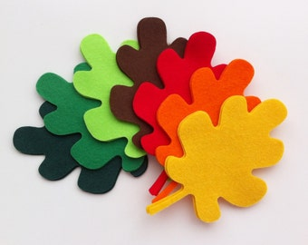 28 felt oak leaves in autumn colours. Green oak leaves. felt flower garland, hand made, die cut leaves, large oak leaves, applique, headband