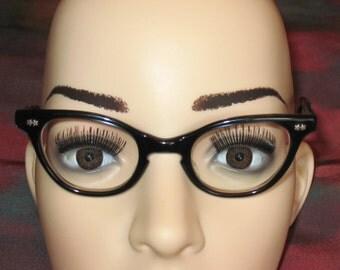 1950s Child's Cat Eye Glasses, Small Black Frames for Child, Eyewear, Small Size Eyeglasses for Girls, Vintage Cat Eyes Glasses