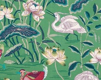 """Schumacher """"Lotus Garden""""  100% Linen Fabric Drapery Panels"""