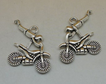 10pcs Motobike with Driver Charms, 25x22mm Antique Silver Motobike Driver Charms Pendant, Racing Driver Charms