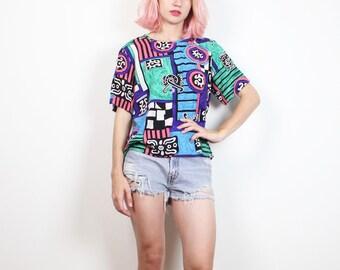 Vintage anni 1980 camicetta Bold New Wave colore blocco Mod stampa 80s T shirt geometrica Hipster Boxy Tshirt Top blu verde nero bianco rosa M Medium