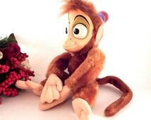 "Disney's Abu Stuffed Animal Alladin's Pet Monkey Vintage Disneyana Rare Rubber Face Plush 16""  Toy Collectible Walt Disney World Souvenir"