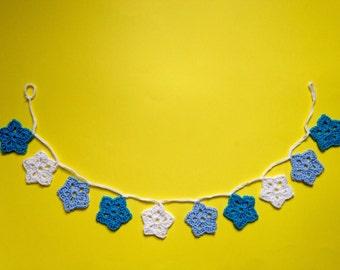 Blue Star Crochet Garland Bunting. Boy's Nursery Decor.