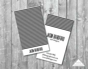 Business Card, Printable Business Cards, Classic, Simple Business Card, Black and White, Modern Stripe Design, Printable PDF, JPEG, Digital