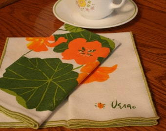 Vintage Vera Neumann Napkins, Orange and Yellow Hibiscus, Cotton Linen