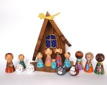 Childrens nativity set for Kids nativity set Peg doll nativity creche Christmas nativity set Wooden nativity set scene Nativity set wood