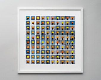 Lollipops - a photographic print montage of 100 belisha beacons, British pedestrian road crossings