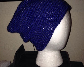 Royal Blue With silver sparkles Beanie