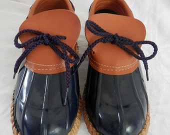 Vintage Womens Duck Boots | Womens Size 6 | Made in the USA | Rubber Boots | Vintage Rain Boots / Brown Leather and Navy Color