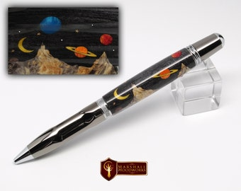 Hand Crafted Space Scene Wood Fisher Space Pen