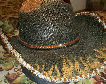Bling Cowboy flamed Hat