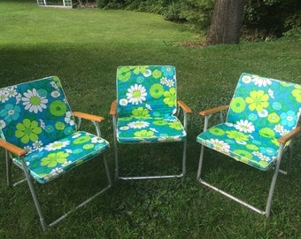 """Set of 3 Retro Wood and Metal Lawn Chairs with Floral Print Vinyl Covers, 30"""""""