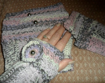 Boot Cuffs/Toppers and matching Wrist Warmers.  Crochet.  Pink, Grey, Cream & Lilac.  washable.