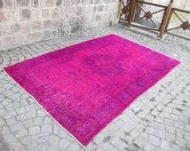 Vintage Fuschia Pink Overdyed Oushak Rug Color and Dark Blue Shadows Rug Interior Design Rug  Oushak Overdyed Rug  124L x 80W