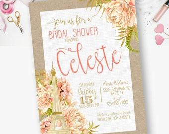 Eiffel Tower Bridal Shower Invitation, Paris, Chic, Floral, Watercolor, Eiffel Tower,  Bridal Shower Invitations  - YOU PRINT