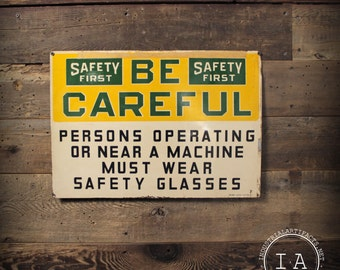 Vintage Safety First Safety Glasses Metal Sign Ready Made Sign Co